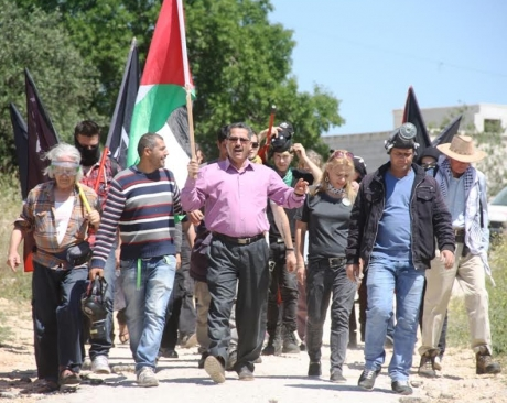 4/1/16 protest in Bil'in (image from Bilin-FFJ)