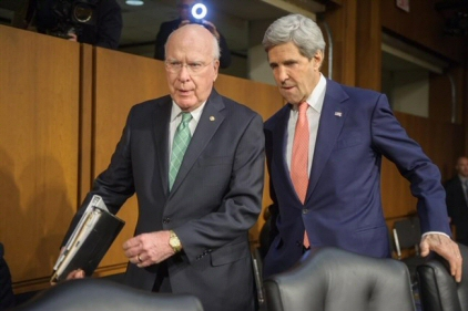 US Senator Patrick Leahy together with US Secretary of State John Kerry in March, 2014. (Photo credit: leahy.senate.gov)