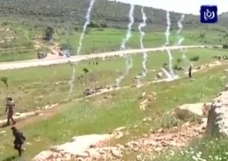 Tear gas in Nabi Saleh (image from Roya news agency)