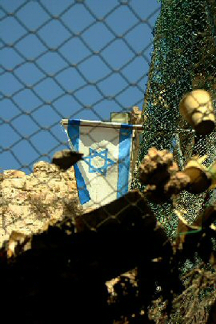 HebronOldCityTrash-A net installed in the Old City to prevent garbage dropped by Israeli settlers into a Palestinian area
