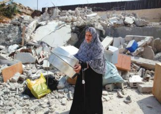 Wasim Khaled Atiyah's home, after it was demolished by Israeli troops this week