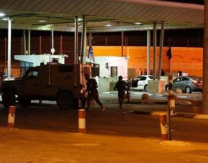 Soldiers at Qalandia checkpoint