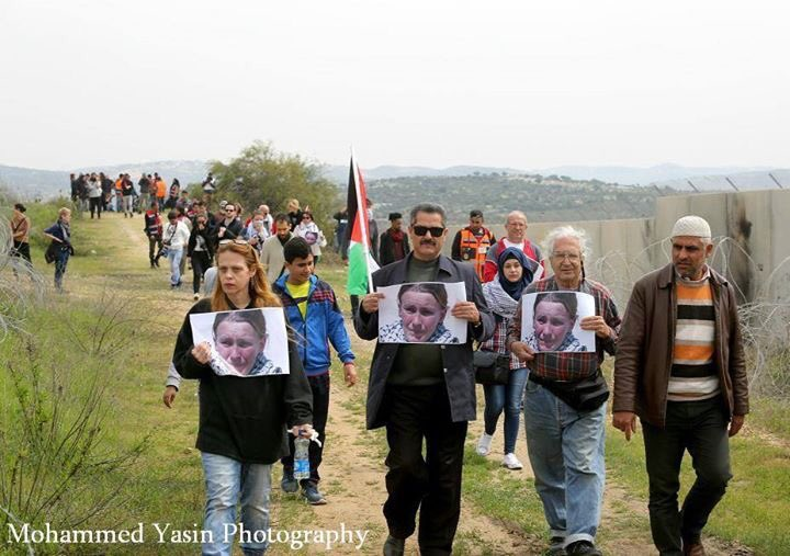 Bil'in protest remembering Rachel Corrie (image by Mohammed Yassin)