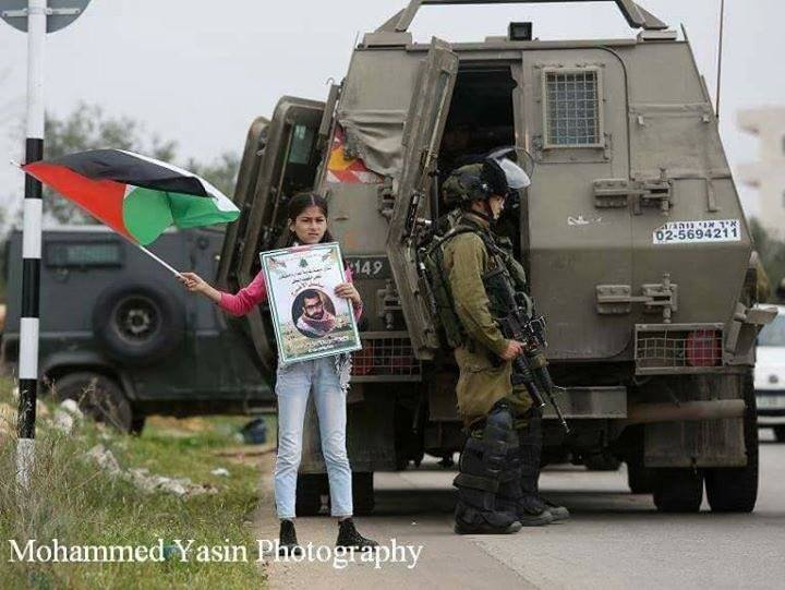 Child waving flag in Bil'in (image by Mohammad Yassin)