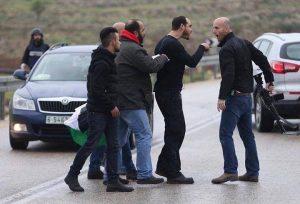 Israeli settler militia member confronting protesters in Nabi Saleh