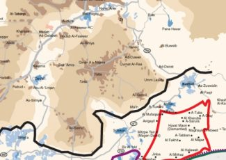 Map of South Hebron Hills showing path of Wall (image from UN)
