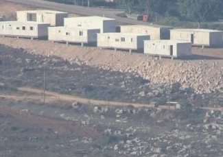 Israeli settler trailers near Nablus (image from Ma'an)