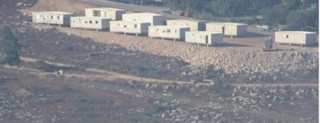 Israeli settler trailers near Nablus (image from Ma'an)
