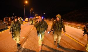 Israeli soldiers near Nablus after Tuesday's attack (image from Israeli military spokesperson)