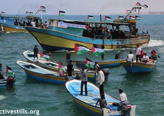 "The Gaza ""Freedom Boat"" in port in Gaza, before attempting to break Israel's naval blockade. May 29, 2018. (Mohammed Zaanoun/Activestills.org)"