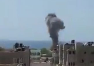 gaza-bombing (image from video by @cjwerleman on Twitter)