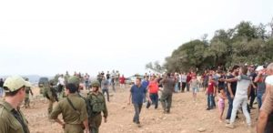 Villagers confront soldiers and settlers - image from Twitter