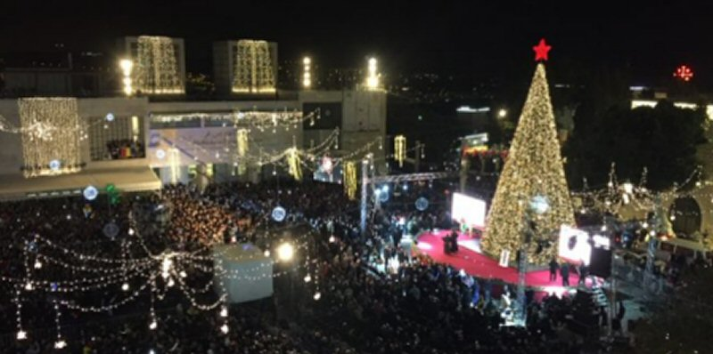 VIDEO: Thousands Gather for Christmas Tree Lighting in Bethlehem - VIDEO: Thousands Gather For Christmas Tree Lighting In Bethlehem