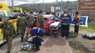 Site of Ariel Junction attack (image from Israeli military Twitter feed)