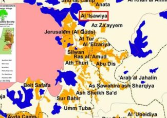 al-Isawiya (blue sections are areas that Israel is attempting to annex)