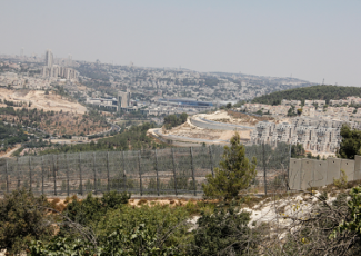 The view from al-Wallaja village toward the Israeli settlement of Gilo (image by Ghassan Bannoura)