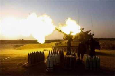 Israeli forces fire artillery from tanks toward Gaza