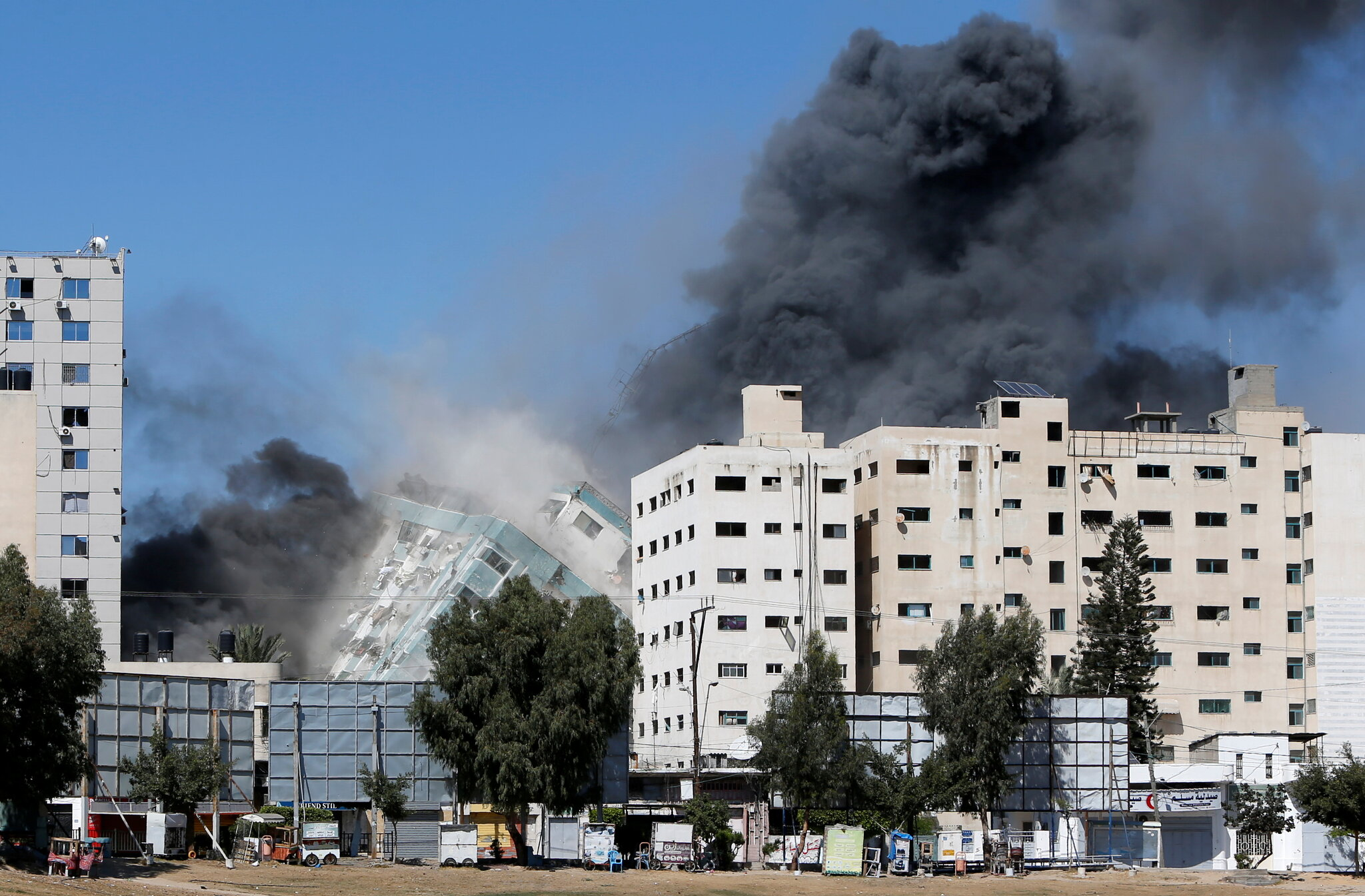 Attack on the AP Building in Gaza (image from @KenRoth on Twitter)