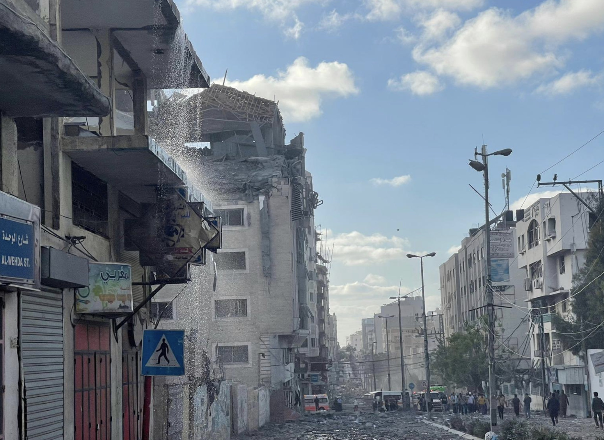 QRCS Headquarters in Gaza, bombed in an Israeli air strike May 17th, 2021. Photo posted on twitter by @fahedalemadi