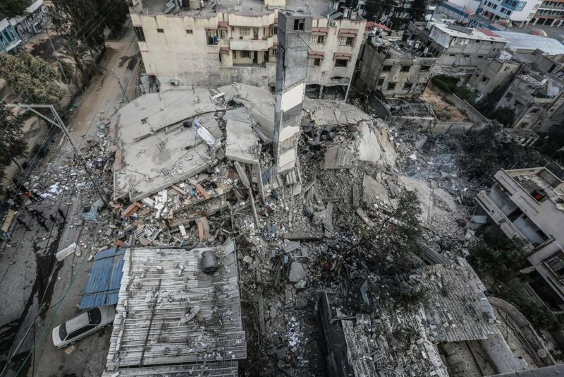 Bombed building in Gaza - image by Times of Gaza