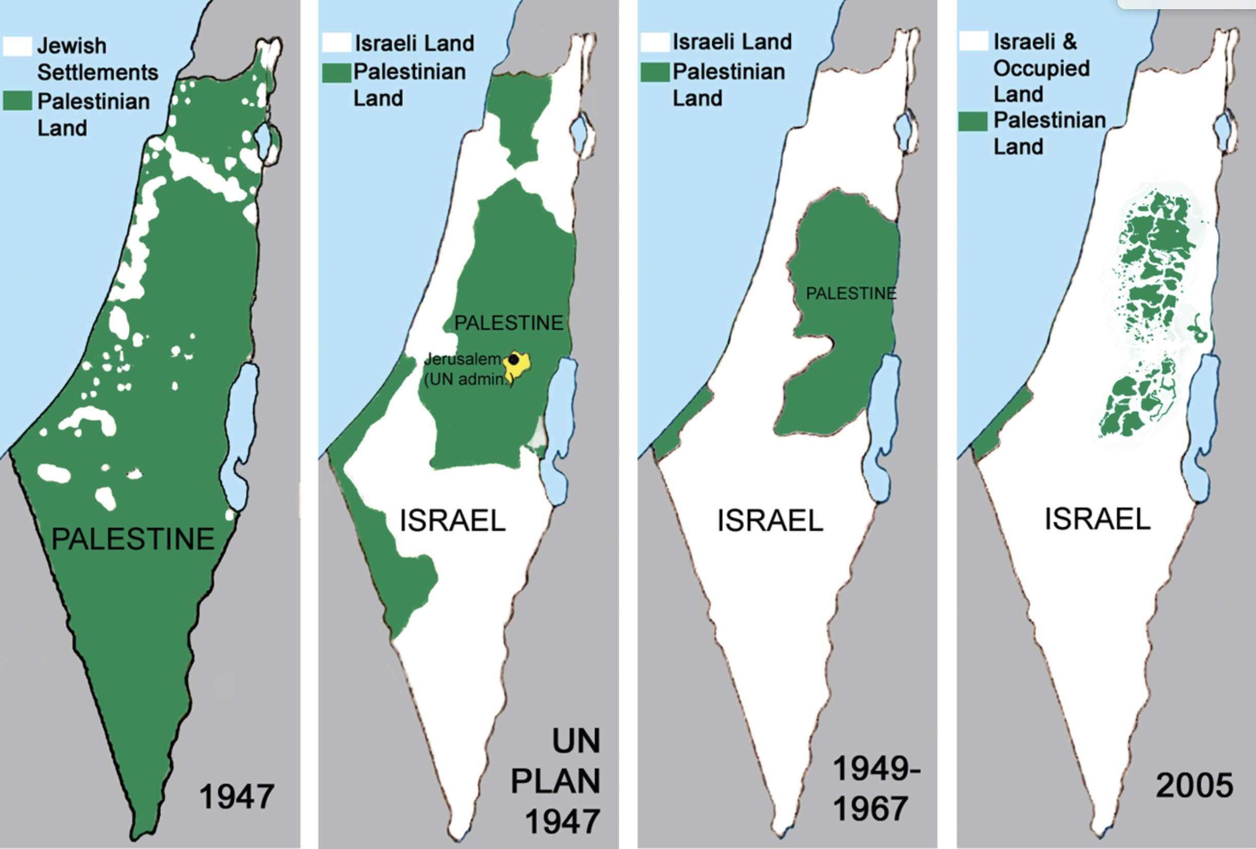 maps of Palestine and the land lost to Israeli settlement and occupation since 1947