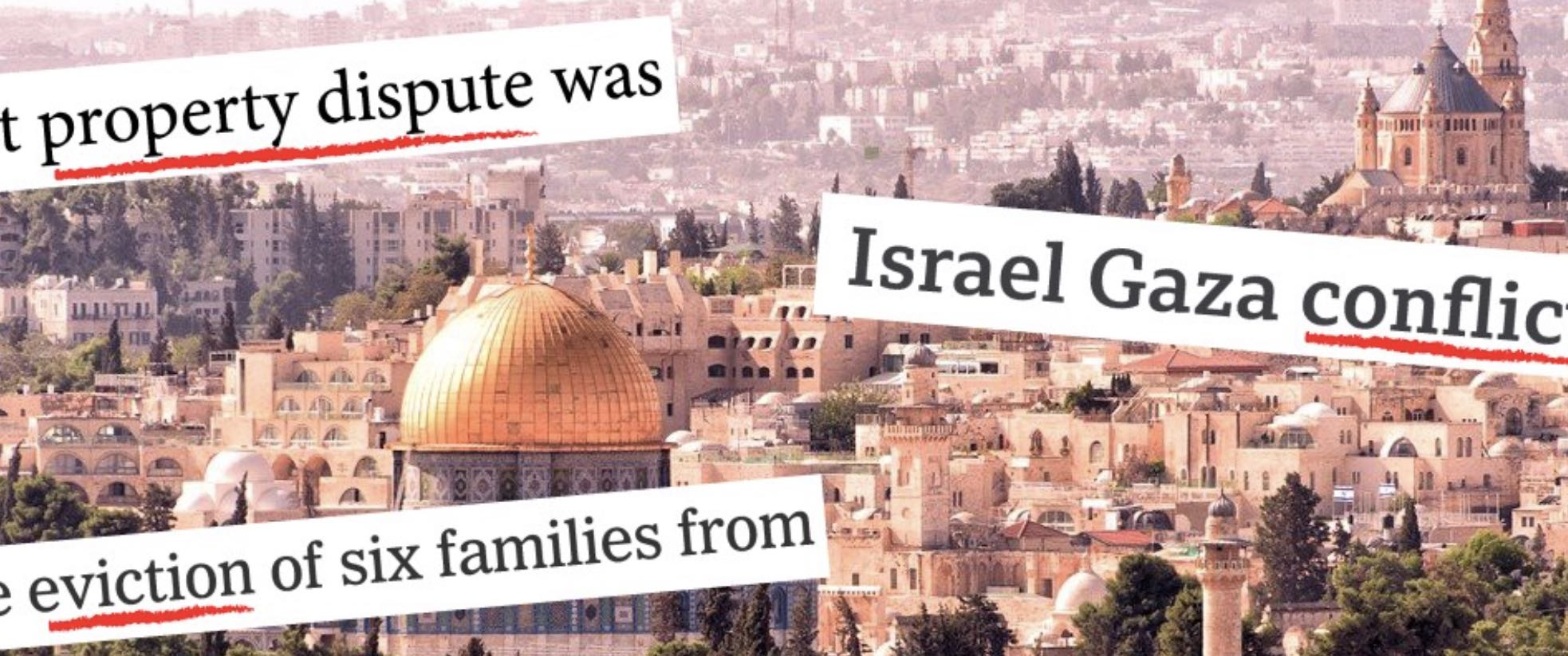 """Banner used in An Open Letter on US Media coverage of Palestine, shows Al Aqsa Mosque and has phrases with underlined words commonly used to hide the truth of Israeli violence such as """"conflict"""", """"eviction"""" and """"property dispute"""""""