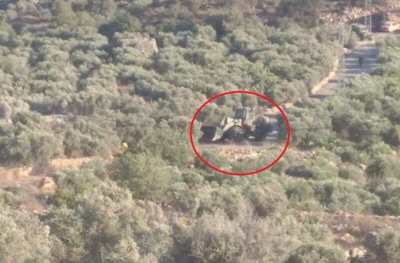 Israeli bulldozer sighted near Beita village Sunday (image from @gazamediaa on Twitter)