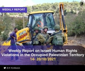 PCHR: Weekly Report on Israeli Human Rights Violations in the Occupied Palestinian Territory